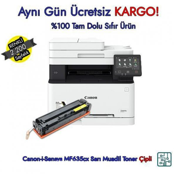 Crg-045H / Canon-i-Sensys MF635cx Sarı Muadil Toner 2.200 Sayfa