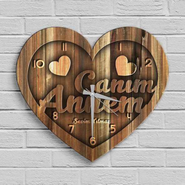 Kişiye Özel Canım Annem Tasarımlı Ahşap Kalp Duvar Saati - 8
