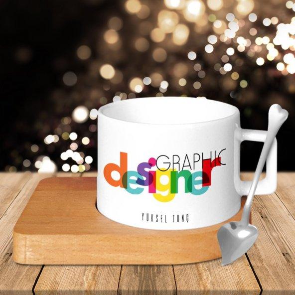 Kişiye Özel Mesleki Grafik Tasarımcı Ahşap Altlıklı Seramik Fincan - 4