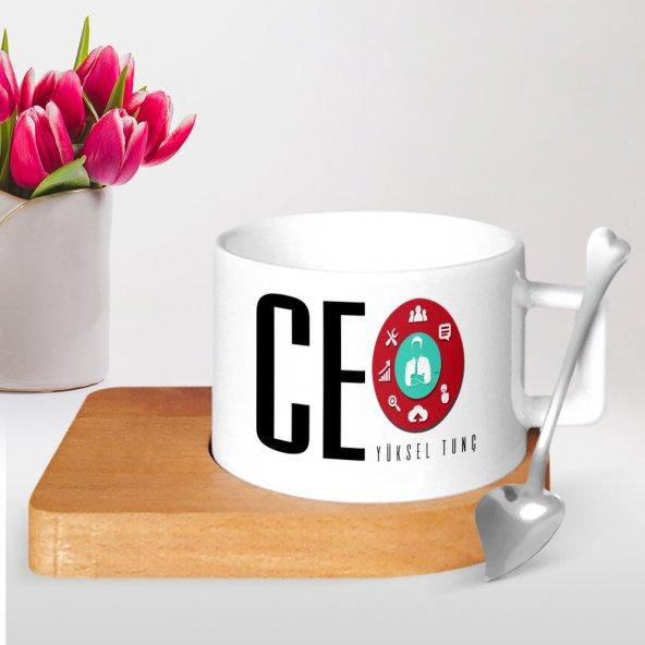 Kişiye Özel Mesleki CEO Ahşap Altlıklı Seramik Fincan - 2