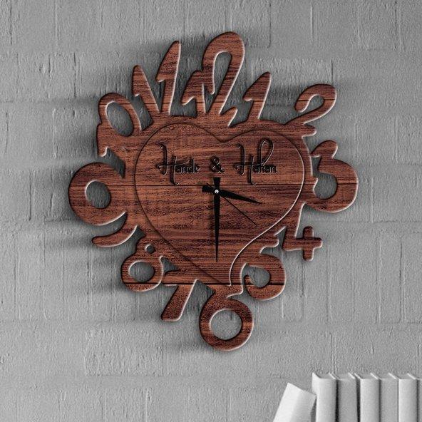 Kişiye Özel Kalp Tasarımlı Ahşap Duvar Saati - 15