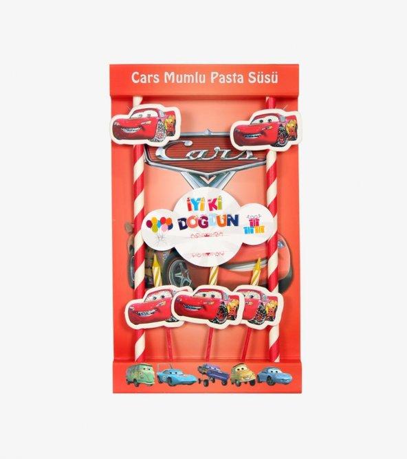 Cars Figürlü Pasta Mumu & Pipet