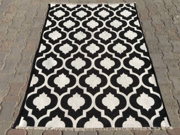 Vintage Makina Siyah Beyaz Kilim 10888  155x230 cm