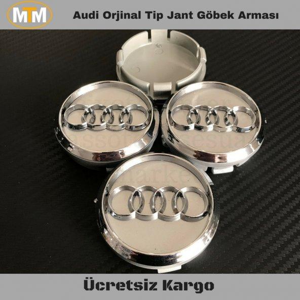 Audi Gri Orjinal Tip Jant Göbek Arması 55mm