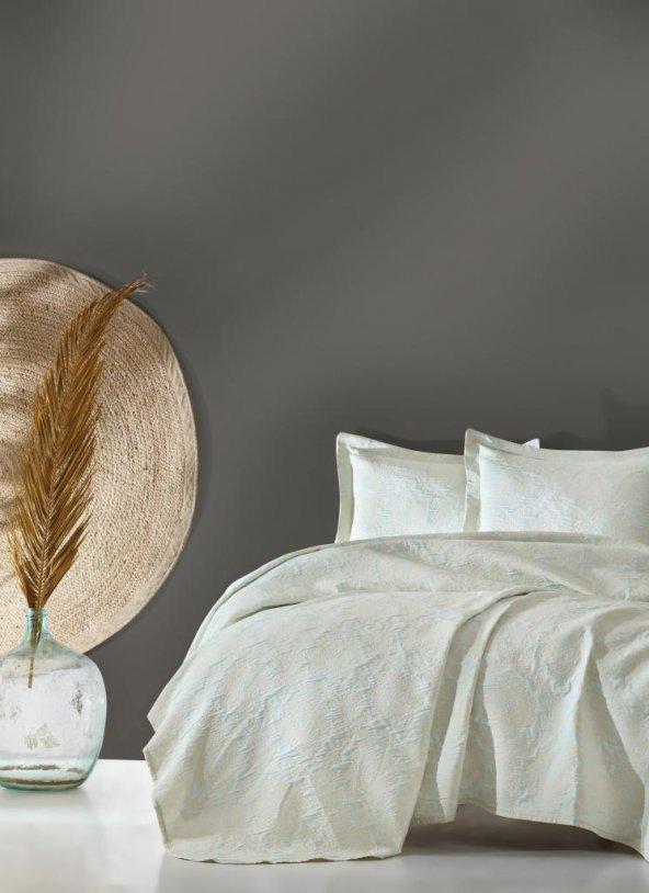 Cotton Box Jakarlı Çift Kişilik Yatak Örtüsü Takımı - Terra Mint
