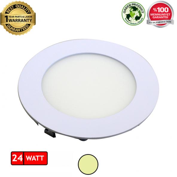 24W Yuvarlak Sıva Altı Flat LED Panel Armatür Gün Işığı