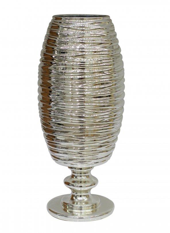 Cam Dekoratif Gümüş Renk Vazo (34x12)cm