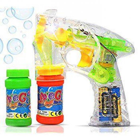 Bubble Gun Pilli LED Işıklı Baloncuk Köpük Tabancası 2 Şişe Köpük