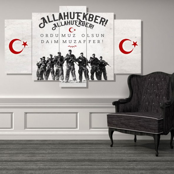 Allahu Ekber 5 Parçalı MDF Tablo