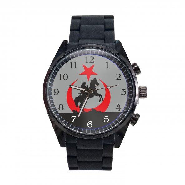 Ay Yıldız İçinde Kürşat ve Atı Ülkücü Tekli siyah silikon Saat