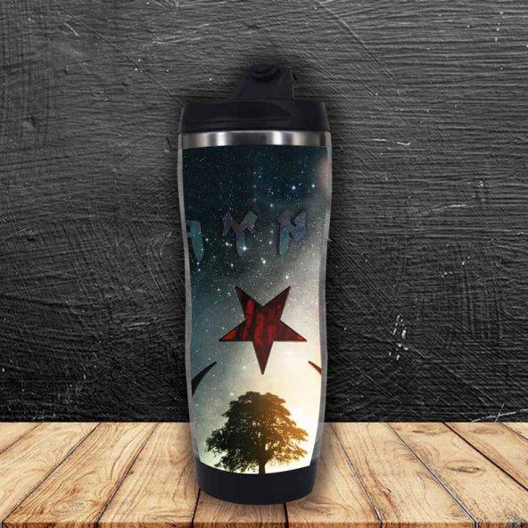 Ay Yıldız İçinde Yaşam Ağacı ve Göktürkçe Türk Termos