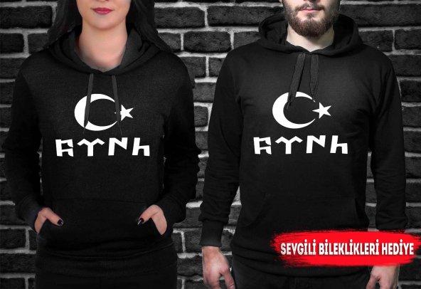 Göktürkçe Türk Ve Ayyıldız  Baskılı Siyah Sevgili Sweatshirtleri