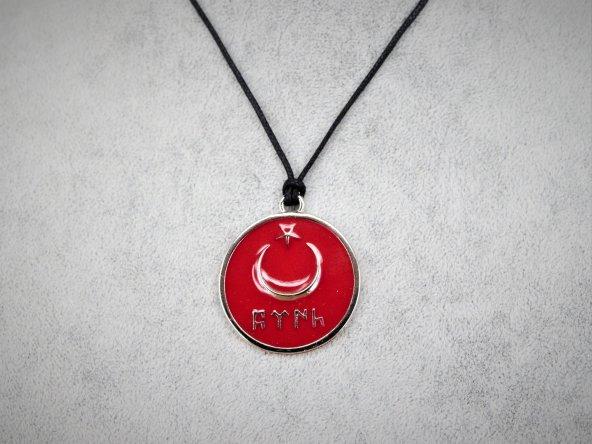 Göktürkçe Türk ve Ay Yıldızlı Kolye Kırmızı