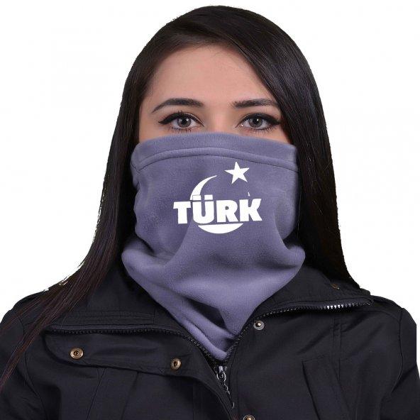 GRİ Desenli Ay İçinde Türkçe Türk Ülkücü Bayan Boyunluk