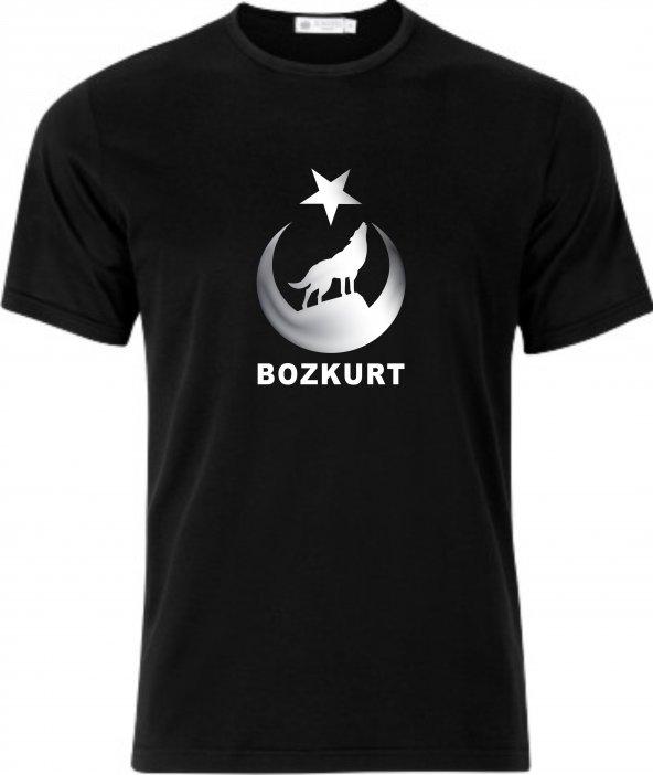 Hİlal içinde Uluyan Bozkurt ve Bozkurt Yazılı Tişört