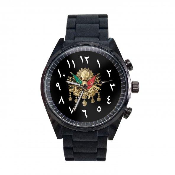 Osmanlı Bayrağı Ülkücü Tekli siyah silikon Saat