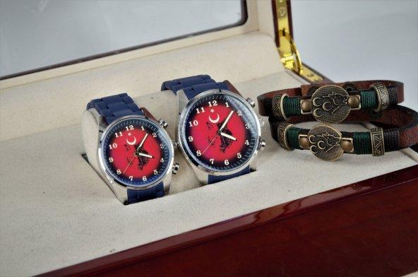 Üç Hilal Kırmızı Bozkurt Baskılı Sevgili Saat Kombini
