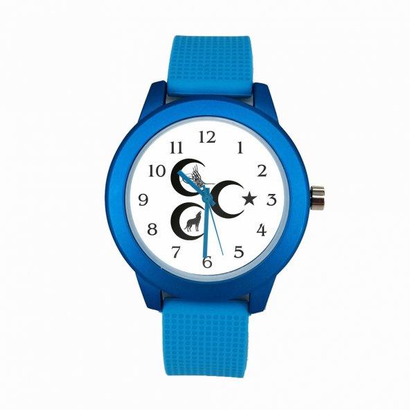 Ülkücü Mavi Renkli Saat