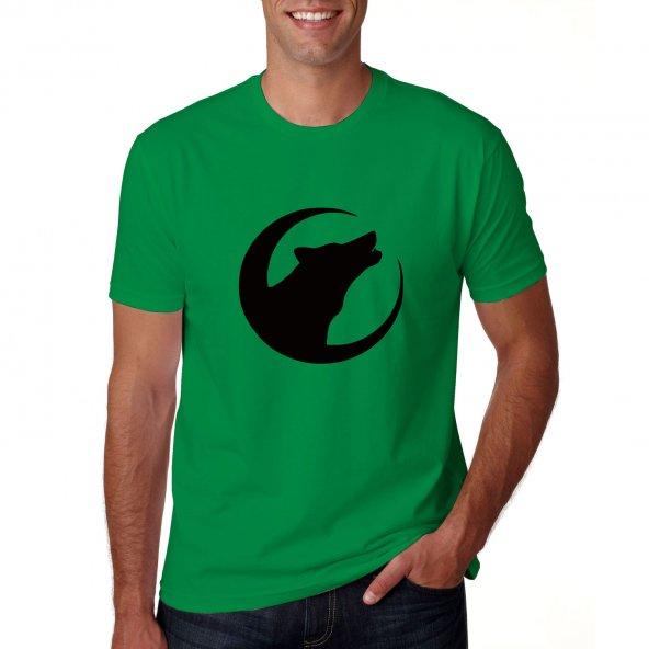 Yeşil  hilal içinde bozkurt Ülkücü Kısa Kollu T SHİRT