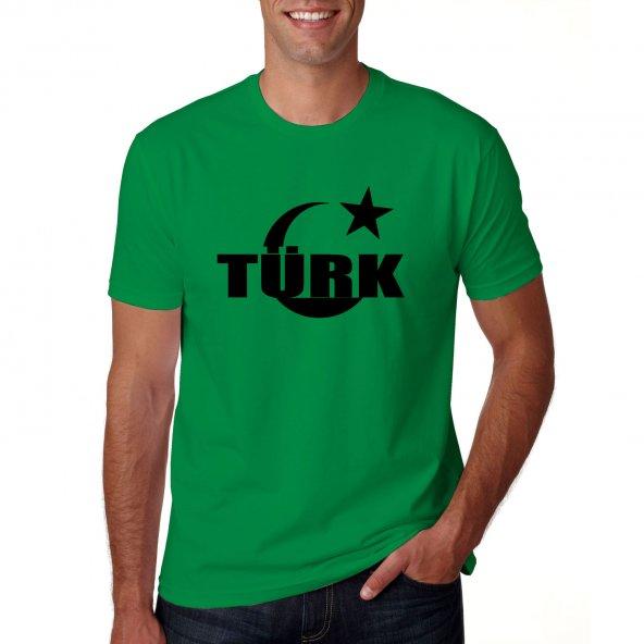 Yeşil ay yıldız içinde türkçe türk  Ülkücü Kısa Kollu T SHİRT