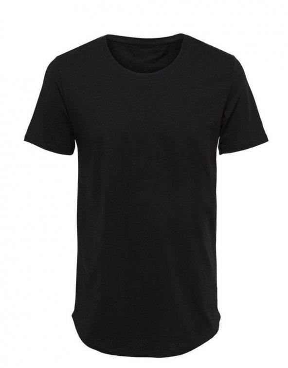 Bpm Basic Oval Kesim Düz Basic Tişört Siyah