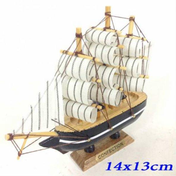 Dekoratif Ahşap Gemi 3 Direkli Şık Tasarım Maket Gemi 14x13cm Eba