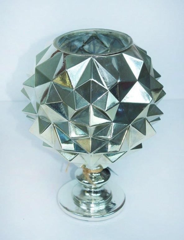 Cam Dekoratif Üçgen Kabartmalı Gümüş Renk Vazo 30 cm