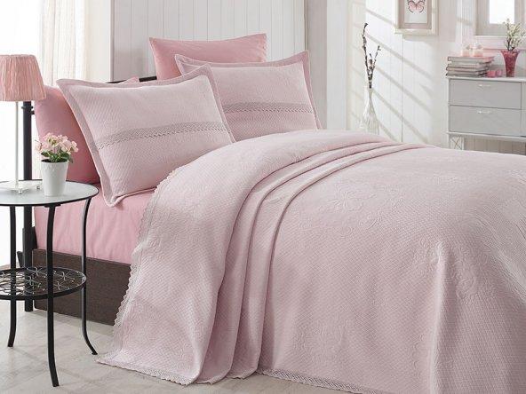 Çift Kişilik Dantelli Pembe Lovely Yatak Örtüsü Takımı