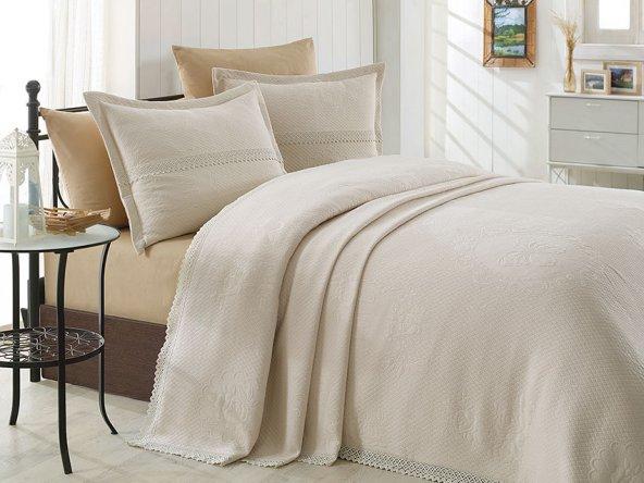 Tek Kişilik Dantelli Bej Lovely Yatak Örtüsü Takımı