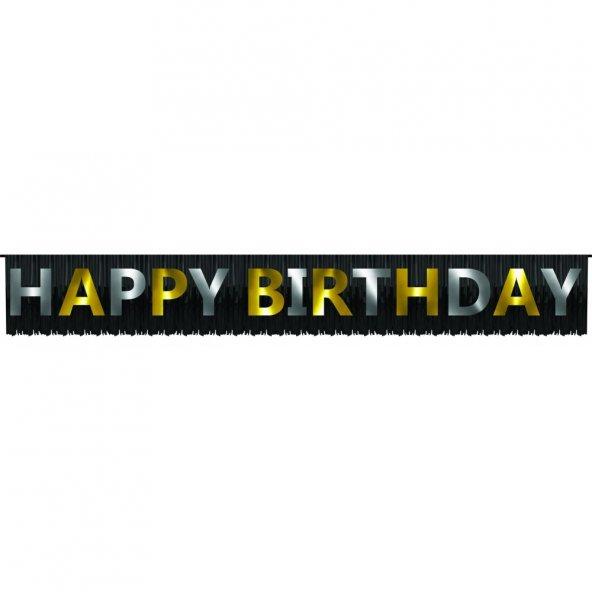 1 adet Kikajoy Püsküllü Happy Birthday Banner