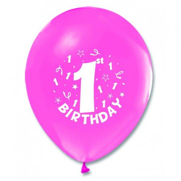 100 adet Kikajoy 1 Yaş Baskılı Pembe Balon
