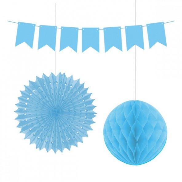 Kikajoy Üçlü Dekorasyon Seti Mavi