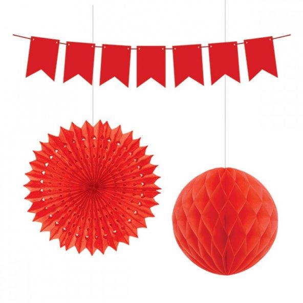 Kikajoy Üçlü Dekorasyon Seti Kırmızı