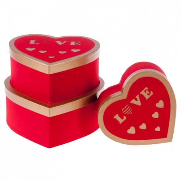 Kikajoy Clatter Kırmızı Kalp Kutu Set 3lü