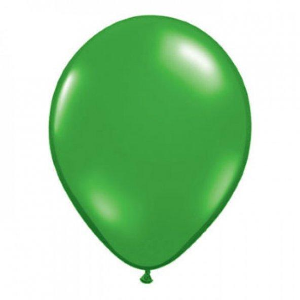 100 adet KİKAJOY Baskısız Metalik Balon Yeşil + Balon Pompası
