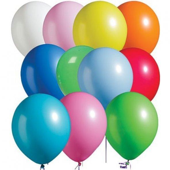 """100 adet Karışık Renk Pastel Balon 10"""" + Balon Pompası"""