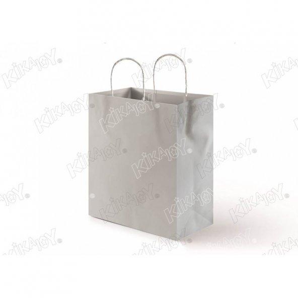 25 adet 31 cm x 41 cm KİKAJOY Büküm Saplı Kağıt Poşet - Gümüş