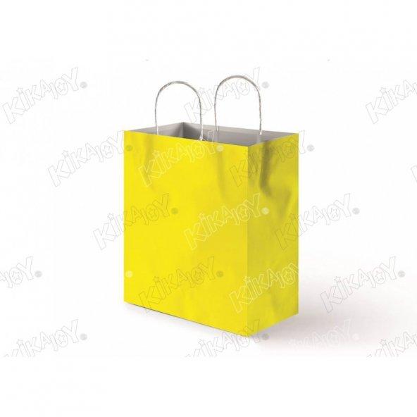 25 adet 31 cm x 41 cm KİKAJOY Büküm Saplı Kağıt Poşet - Sarı