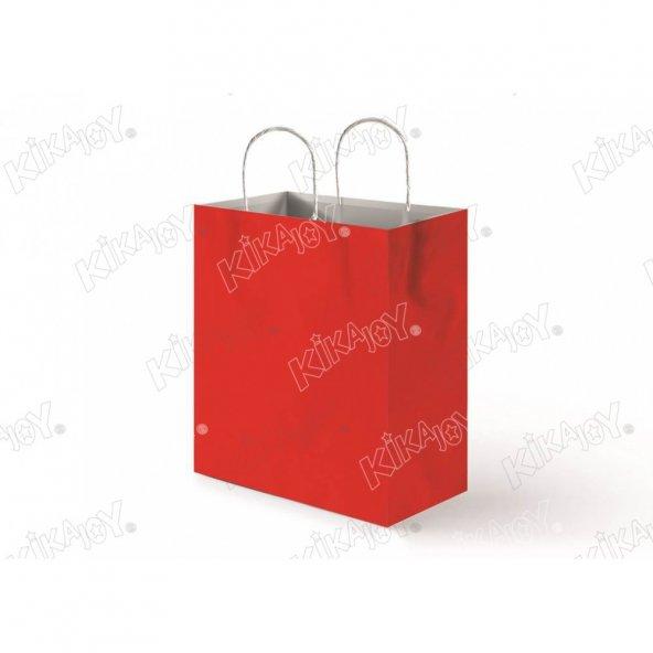 25 adet 31 cm x 41 cm KİKAJOY Büküm Saplı Kağıt Poşet - Kırmızı