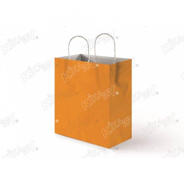 25 adet 25 cm x 31 cm KİKAJOY Büküm Saplı Kağıt Poşet - Turuncu