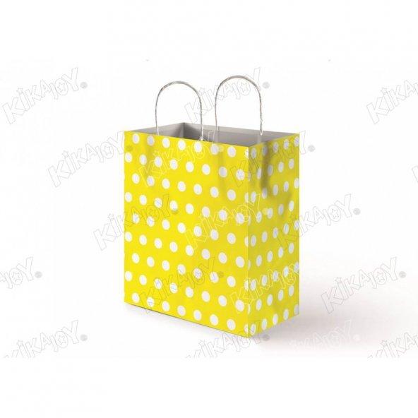 25 adet KİKAJOY 18 cm x 24 cm Büküm Saplı Kağıt Poşet Sarı Puanlı