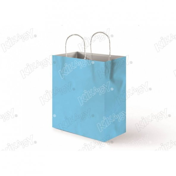 25 adet KİKAJOY 18 cm x 24 cm Büküm Saplı Kağıt Poşet - Açık Mavi