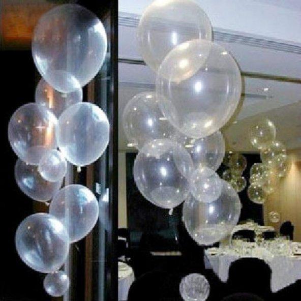 100 adet Baskısız Şeffaf Balon + Balon Pompası