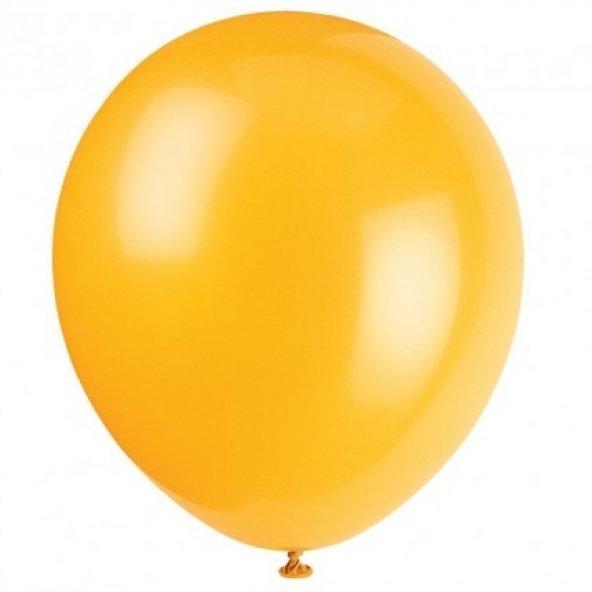 100 adet KİKAJOY Baskısız Metalik Balon Turuncu + Balon Pompası