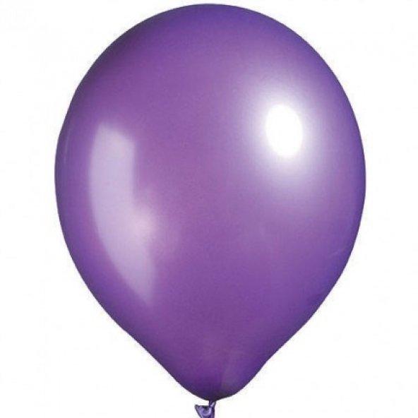 100 adet KİKAJOY Baskısız Metalik Balon Mor + Balon Pompası