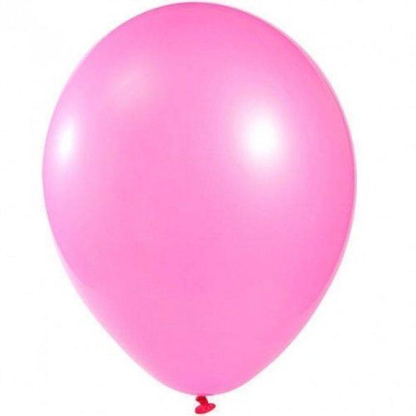 100 adet KİKAJOY Baskısız Metalik Balon Pembe + Balon Pompası