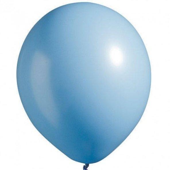 100 adet KİKAJOY Baskısız Pastel Balon Açık Mavi + Balon Pompası