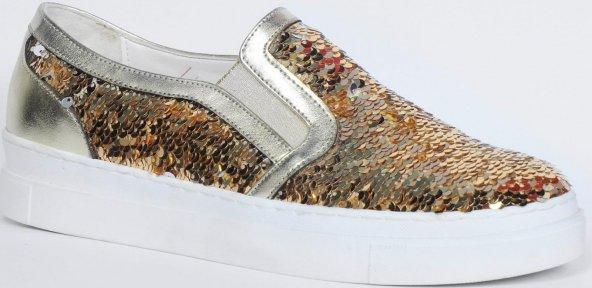 Bayan Babet Ayakkabısı Altın Gümüş
