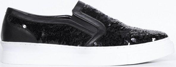 Bayan Babet Ayakkabı Siyah Pullu