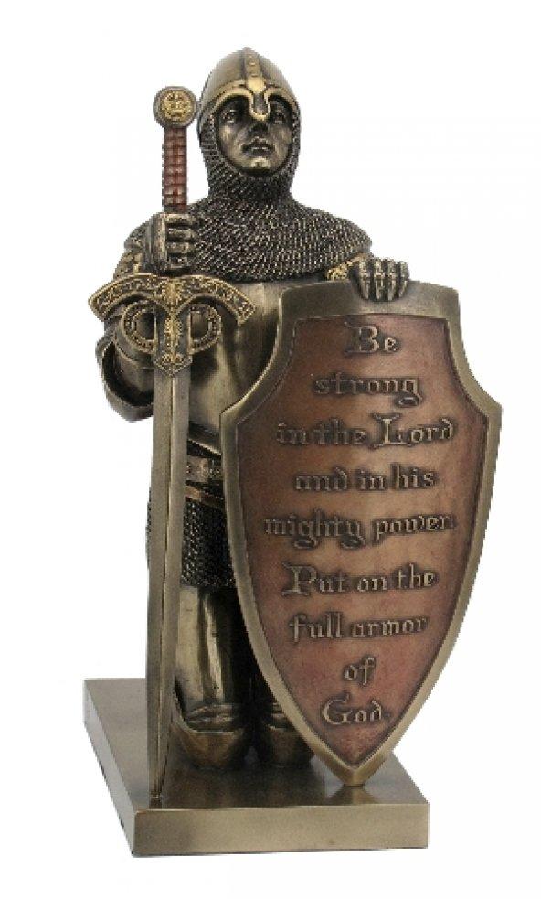 Hiper Wise Kalkan ve Kılıçlı Dua Eden Şövalye Dekoratif Biblo